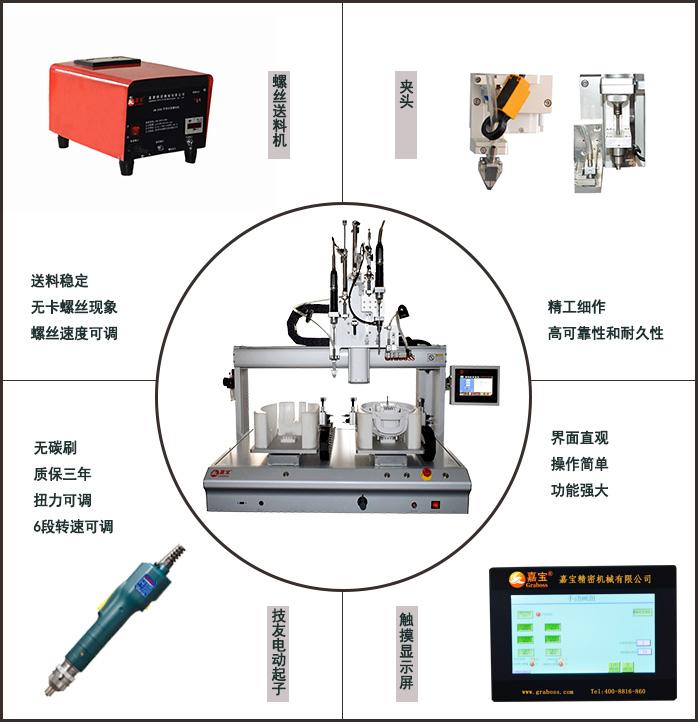 嘉宝GBL-CX331落地吹吸式自动锁塑料配线箱螺丝机整体和细节展示